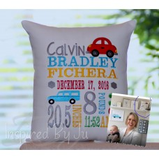 2 cars - Birth Announcement Pillow  (Today show's Dylan Dryer's son's pillow!)