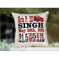 Cars - Birth Announcement Pillow