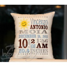 Smiley Sun - Birth Announcement Pillow