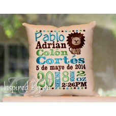 Lion - Birth Announcement Pillow