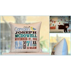 Singing Bird - Birth Announcement Pillow