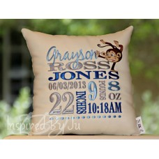 Handstand Monkey - Birth Announcement Pillow