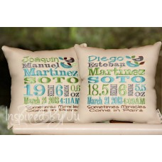 Two Birds - Birth Announcement Pillow