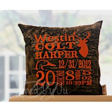 Hunting Themed - Birth Announcement Pillow