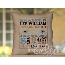 Three Elephants - Birth Announcement Pillow