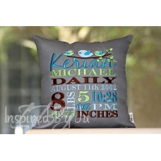 Three Little Birds - Birth Announcement Pillow
