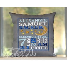 Moon and Stars - Birth Announcement Pillow