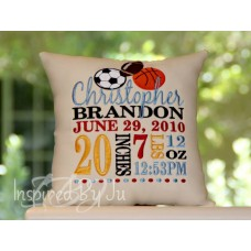 Sports - Birth Announcement Pillow