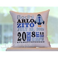Rocket Ship - Birth Announcement Pillow