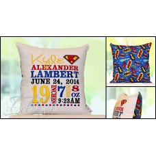 Superhero - Birth Announcement Pillow