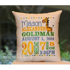 Happy Giraffe - Birth Announcement Pillow