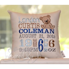Teddy Bear Applique - Birth Announcement Pillow