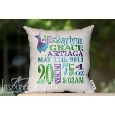 Peacock - Birth Announcement Pillow