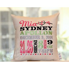 Cherry Blossom - Birth Announcement Pillow
