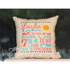 Sun - Birth Announcement Pillow