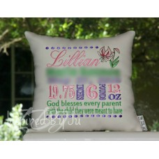 Lilies - Birth Announcement Pillow
