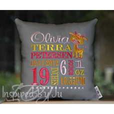 Smiling Giraffe - Birth Announcement Pillow