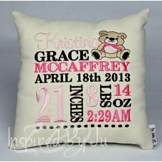 Sitting Teddy Bear - Birth Announcement Pillow