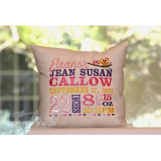 Two Owls - Birth Announcement Pillow