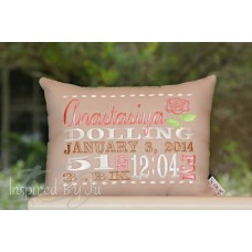 Rose - Birth Announcement Pillow