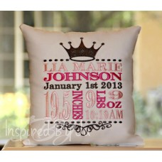 Vintage Crown - Birth Announcement Pillow