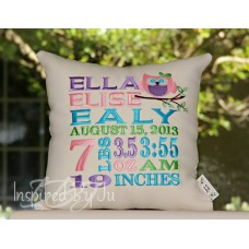 Owl on Branch - Birth Announcement Pillow