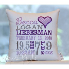 Heart - Birth Announcement Pillow