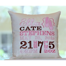 Ballet Slippers - Birth Announcement Pillow