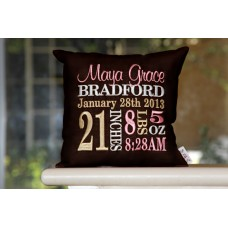 Classic Birth Announcement  Pillow - Girl