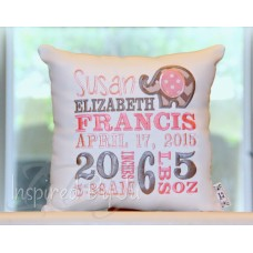 IBJ Girl  Elephant - Birth Announcement Pillow