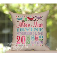 Little Birdies - Birth Announcement Pillow