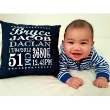 Classic Birth Announcement Pillow - Boy