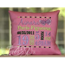 Butterfly - Birth Announcement Pillow