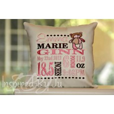 Teddy Bear - Birth Announcement Pillow