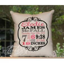 Vintage - Birth Announcement Pillow